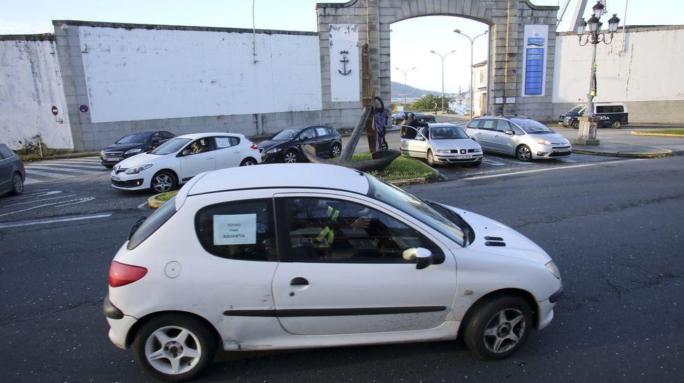 Protesta de los trabajadores de Ence.La visita del presidente del TSXG a los juzgados de Lugo