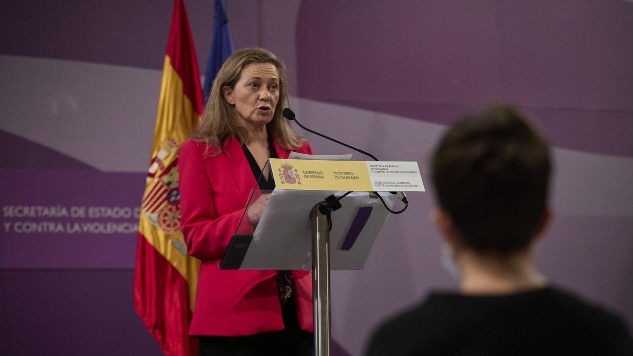 La delegada del Gobierno contra la Violencia de Género, Victoria Rosell, durante la rueda de prensa de hoy.