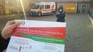 Una de las hojas informativas sobre el coronavirus que han repartido en Piacenza