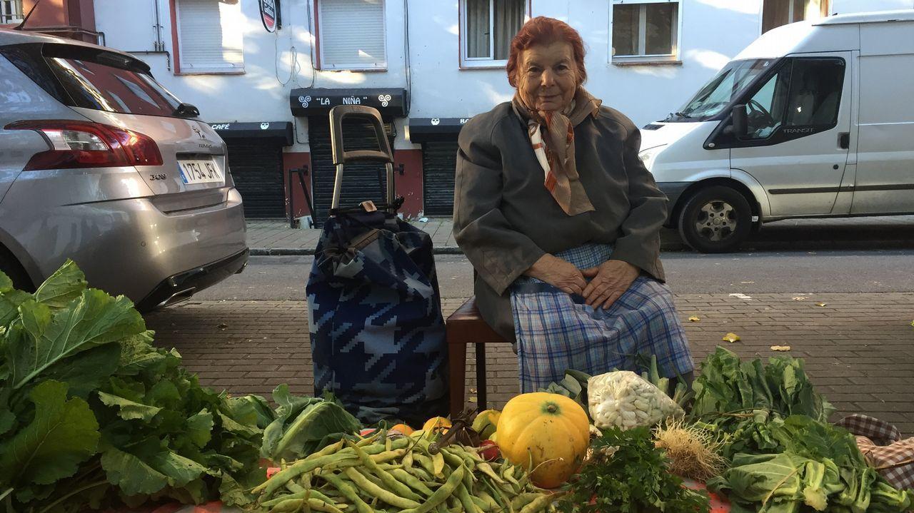 Rosalía Míguez, de 85 años, vende verduras y frutas de su huerta de O Couto en Recimil. «Ahora la gente prefiere comida precocinada y ya no se interesa por la verdura fresquiña que tenemos aquí... Es una pena»