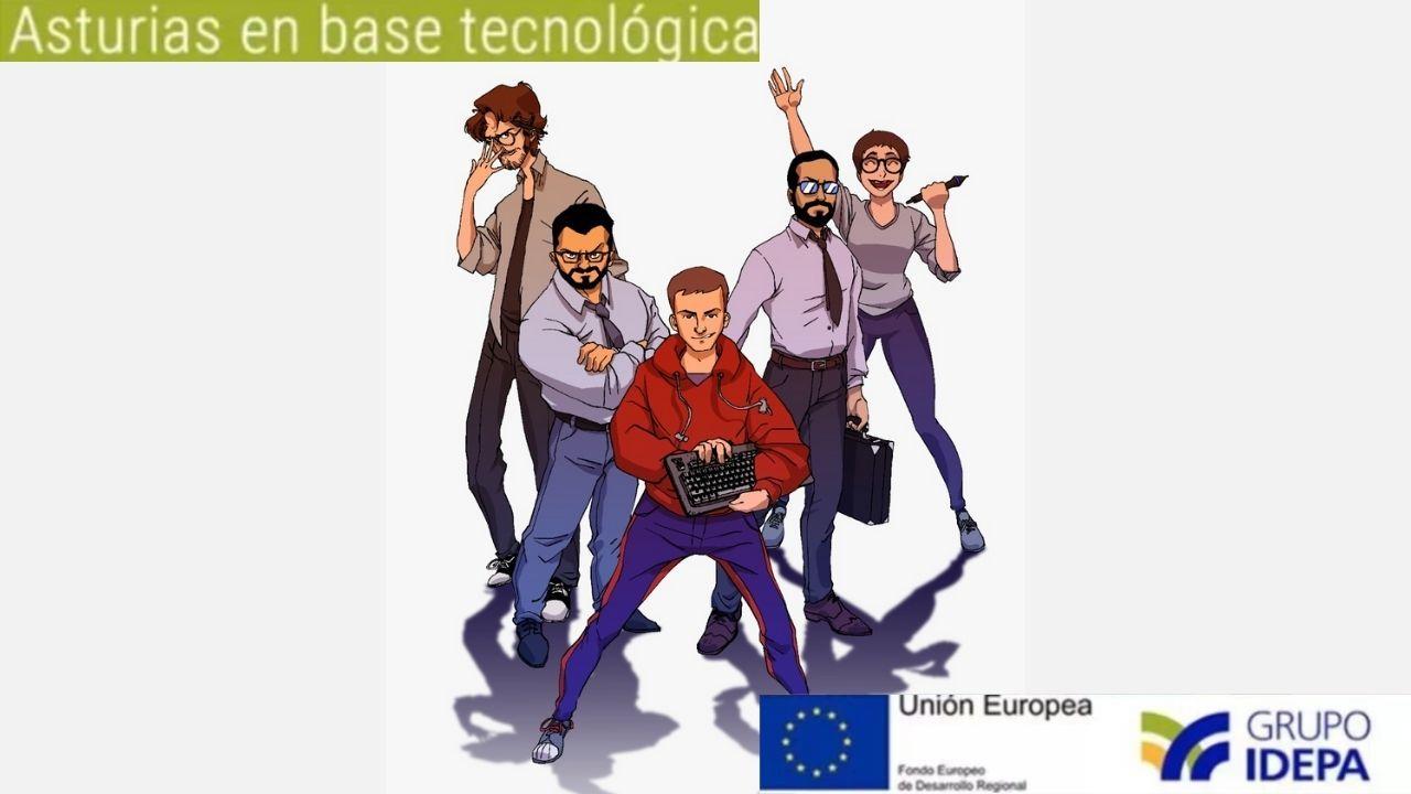 El equipo de Meteorbyte, caricaturizado, está formado por Phil González, Pj Quirós, Ulises Lafuente, Santi Luna y Inma M. Lobo