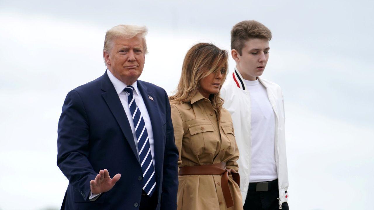 Trump, Melania y el hijo de ambos, Barron