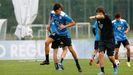 Diego Villares, durante un entrenamiento con el Deportivo