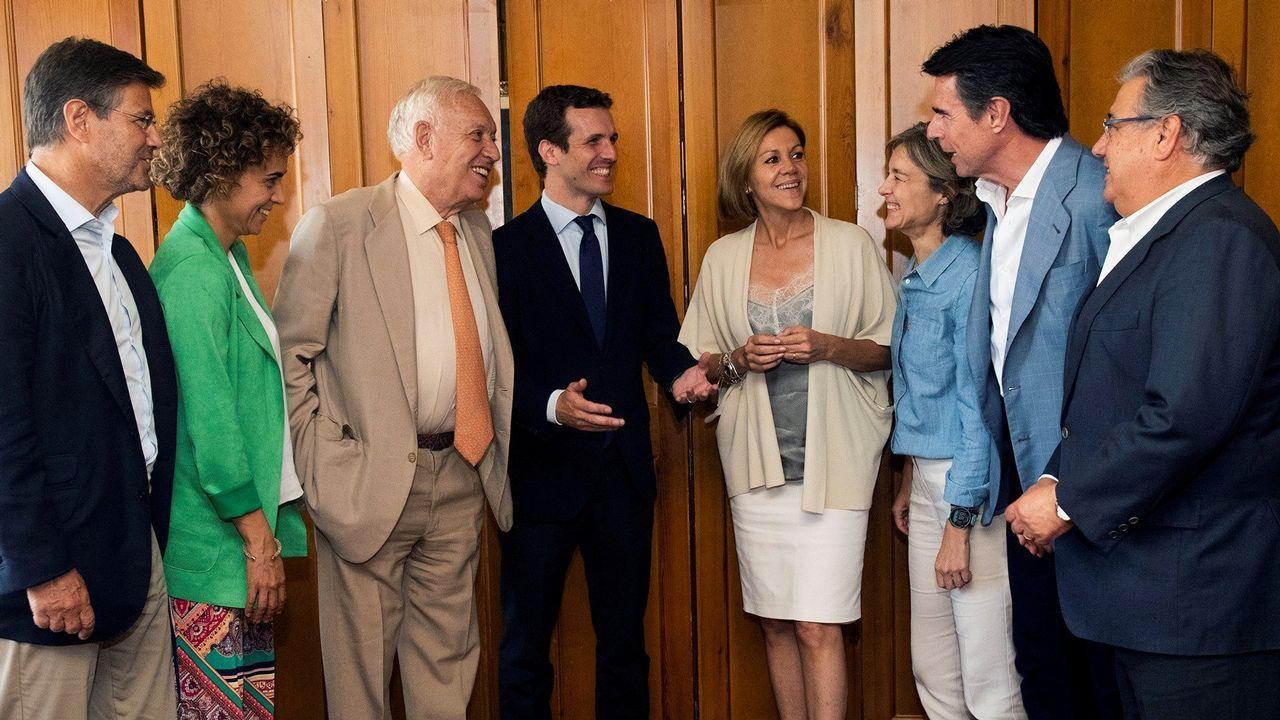 Casado organiza un almuerzo con exministros de Rajoy.La secretaria general del Partido Popular, María Dolores de Cospedal, durante su intervención