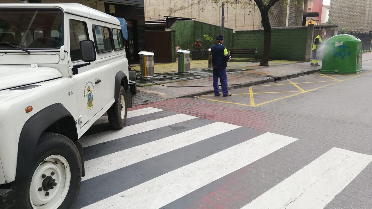 Triditive.Dos operarios de los Servicios Operativos de Langreo desinfectan un punto con contenedores en una calle de La Felguera.