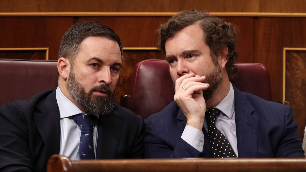 Santiago Abascal e Iván Espinosa de los Monteros conversando en el hemiciclo