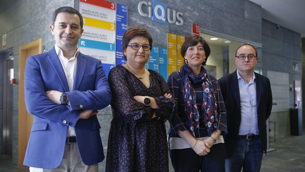 José Brea, Ángeles Expósito, Carmen Pampín y Jacobo Cruces, de las empresas, ayer en el Ciqus.