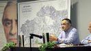 Alberto Fortes, en la Casa da Cultura de Portas, donde presentó su libro sobre Domingo Fontán