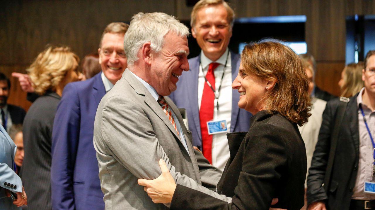 La ministra Teresa Ribera junto a Jochen Flasbarth, secretario de Estado alemán de Medio Ambiente