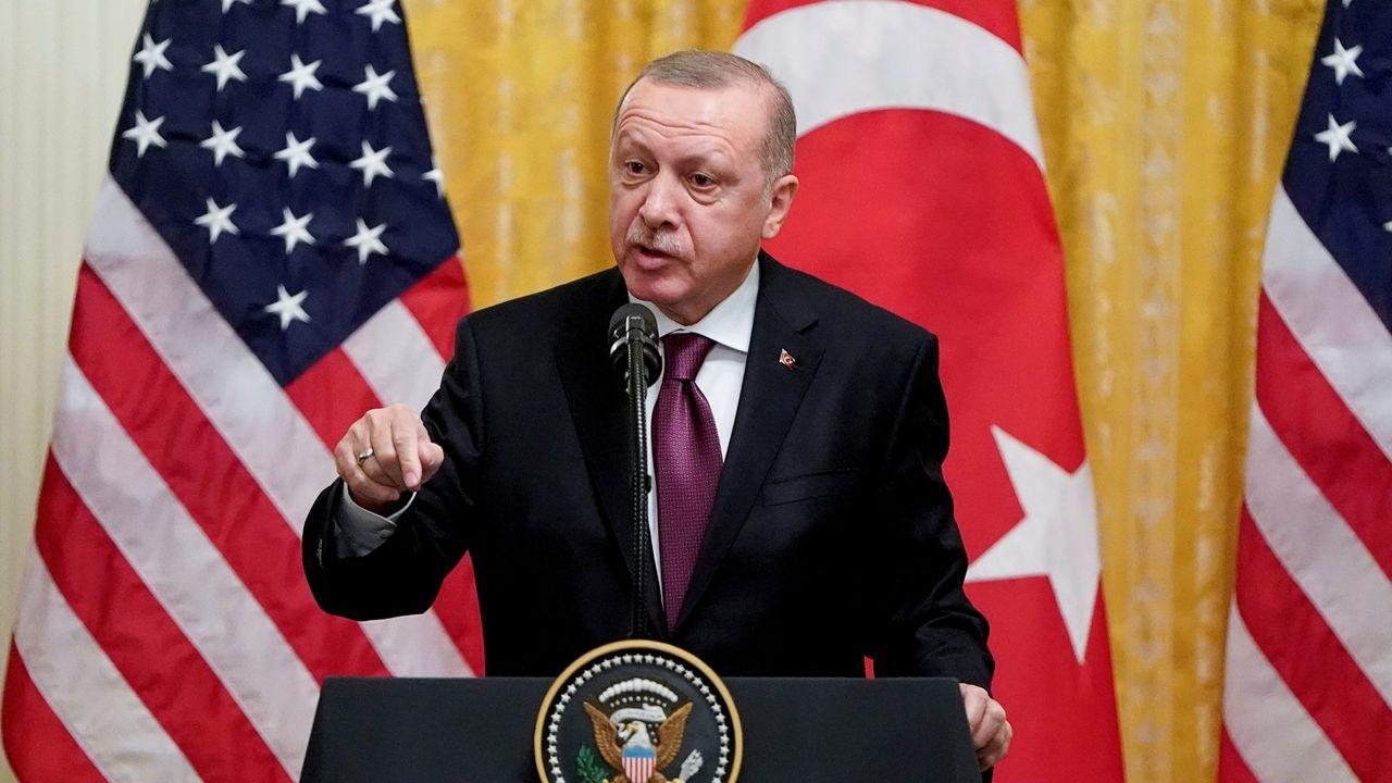 El presidente turco, Recep Tayyip Erdogan, en un mitin de su partido el pasado domingo