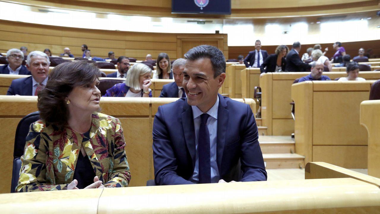 Carmen Calvo y Pedro Sánchez, durante la sesión de control al Gobierno en el Senado
