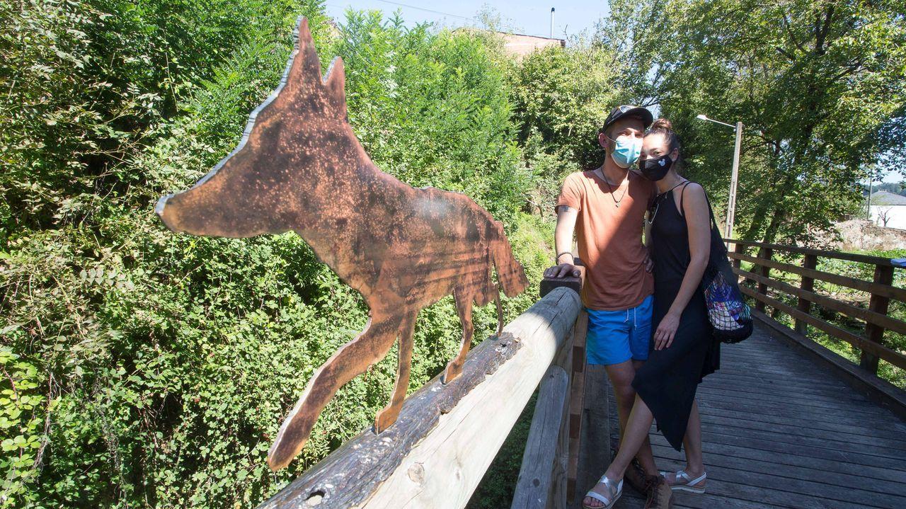 ÁLBUM: Las siete figuras de hierro que animan las calles de Navia.Entrada del HULA