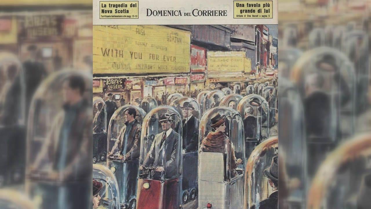 En 1962, una ilustración en el semanario italiano «Domenica del Corriere», fabula sobre cómo será la sociedad medio siglo después. En 2022 la gente viajaría encapsulada en una especie de patinetes carrozados, sin contacto próximo entre personas