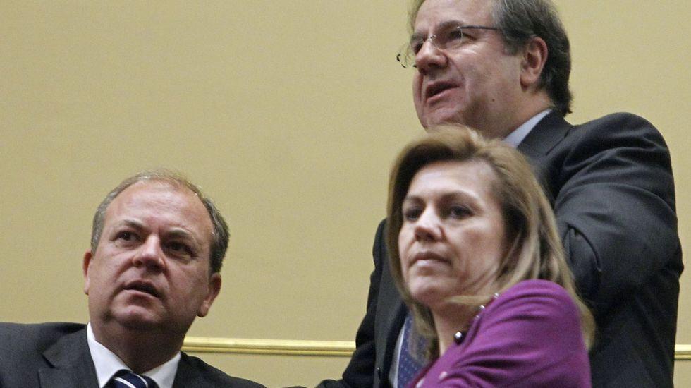 Monago y Cospedal con el presidente de Castilla y León durante el debate del Estado de la Nación del año 2014