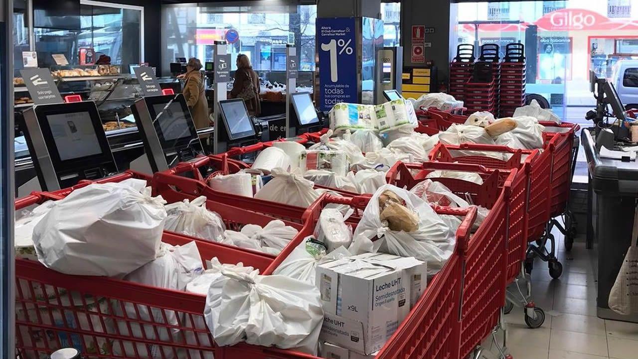 Supermercados abarrotados en Madrid