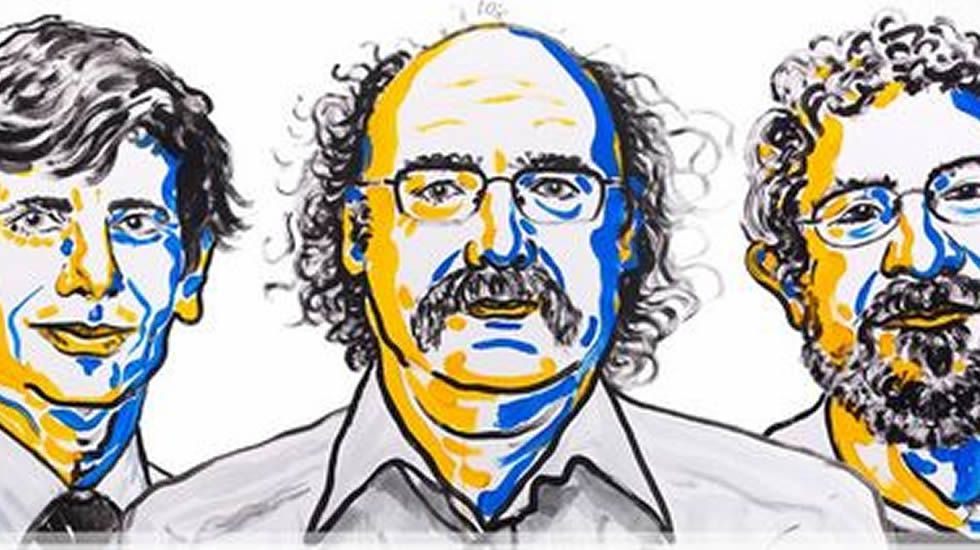 Ben Feringa (izq), Stoddart (c) y Sauvage (dcha).