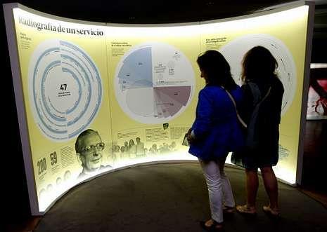 Toda la información del Mundial de Brasil 2014, en vídeo.Dos visitantes observan el gráfico que recoge el trabajo que hizo en vida Álvaro del Portillo