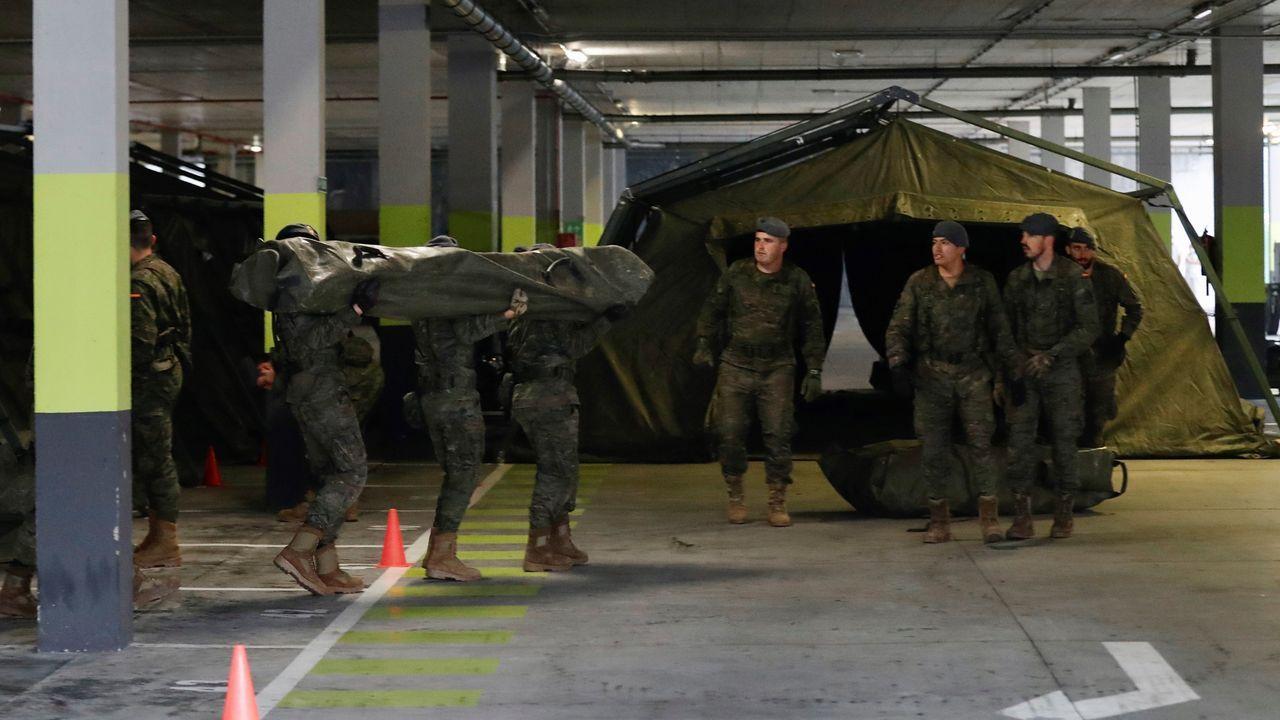 El ejército inició jueves la instalación de un hospital militar de campaña de unos 400 metros cuadrados, junto a la zona de Urgencias del HUCA