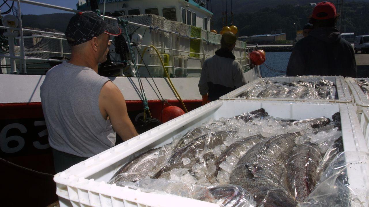 Descarga de merluza del pincho en Celeiro, en una foto de archivo