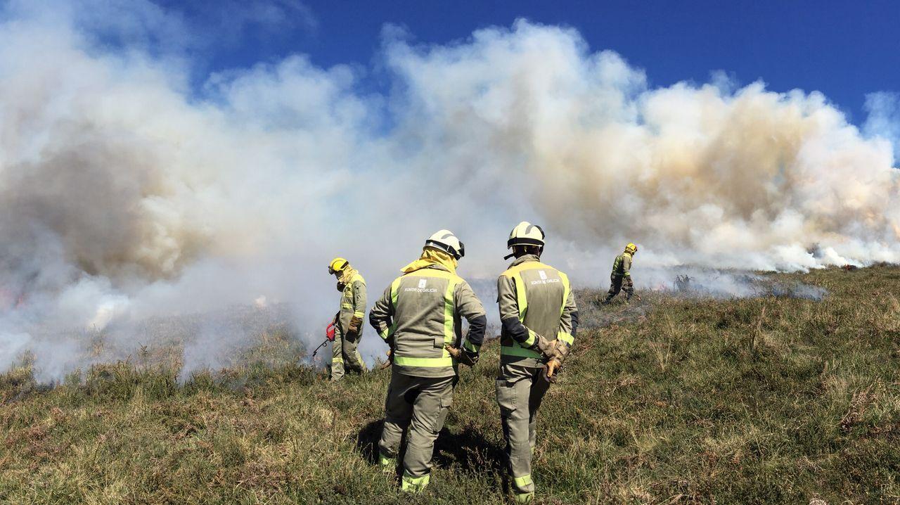 Brigadas de Lugo y León apagan un incendio forestal en el límite entre comunidades.Humareda del incendio del 6 de marzo en Hórreos (Folgoso do Courel) , que quemó entre 8 y 10 hectáreas de monte