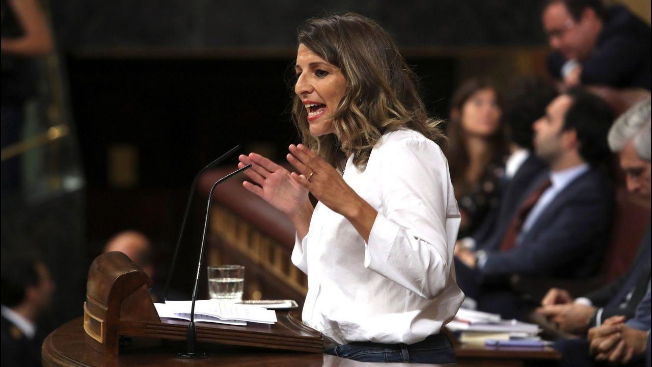 Yolanda Díaz, durante su intervención en el debate de investidura