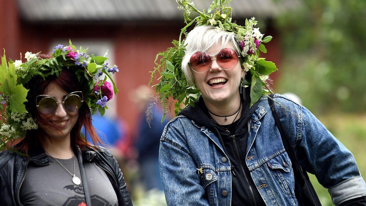 Finlandesas, durante una celebración en Helsinki