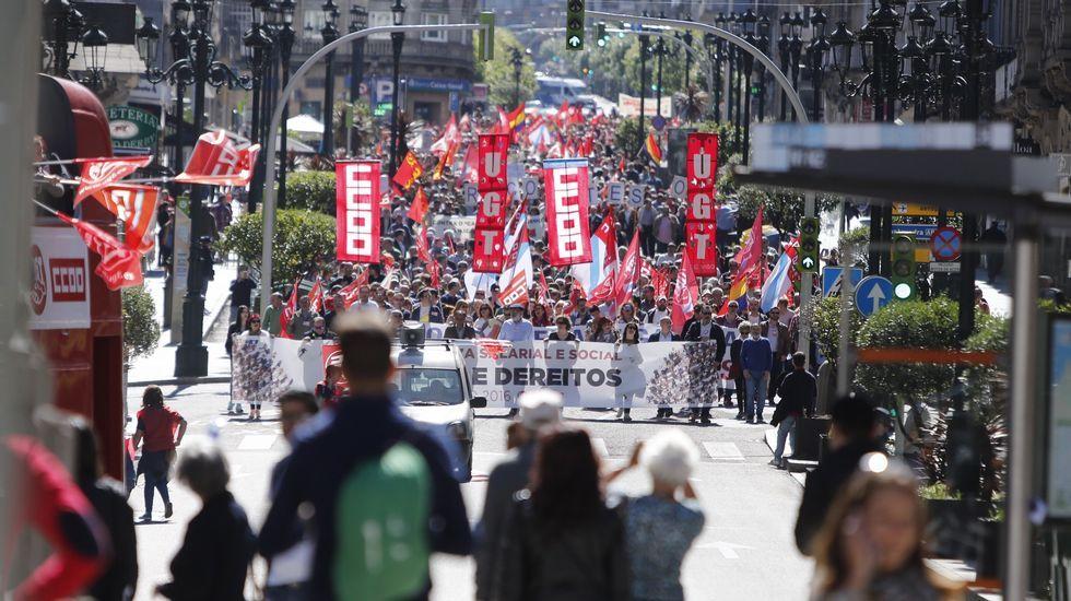 Las manifestaciones del 1 de mayo.Manifestación central en Vigo