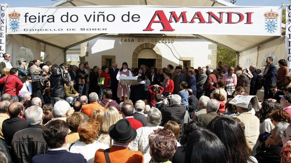 O nome da parroquia soberina nun cartel anunciador da Feira do Viño de Amandi, na edición do 2009
