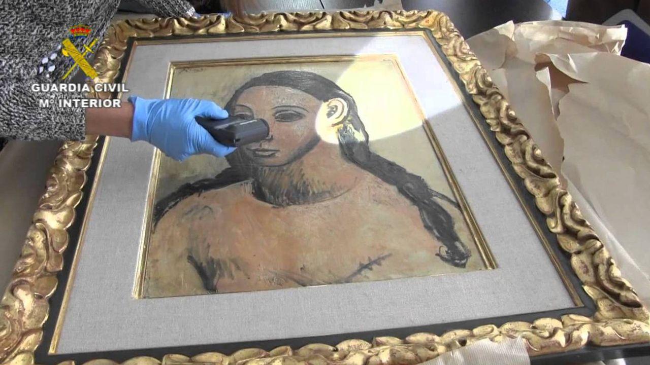 Imagen facilitada por la Guardia Civil de la obra de Picasso «Cabeza de mujer joven», cuando la incautaron a Botín