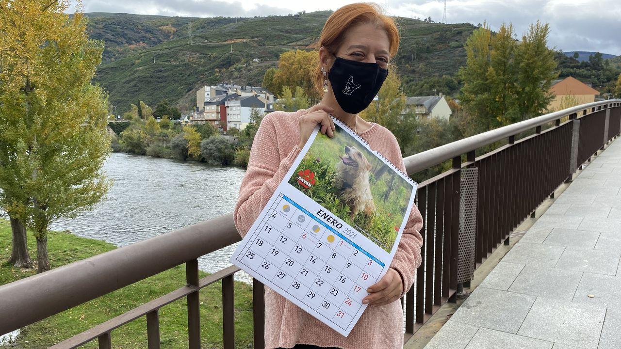 ¿Cómo podrá salir reforzado de la pandemia el sector del vino en Galicia?.Pilar Pérez, con la mascarilla y el calendario de Peludines Callejeros