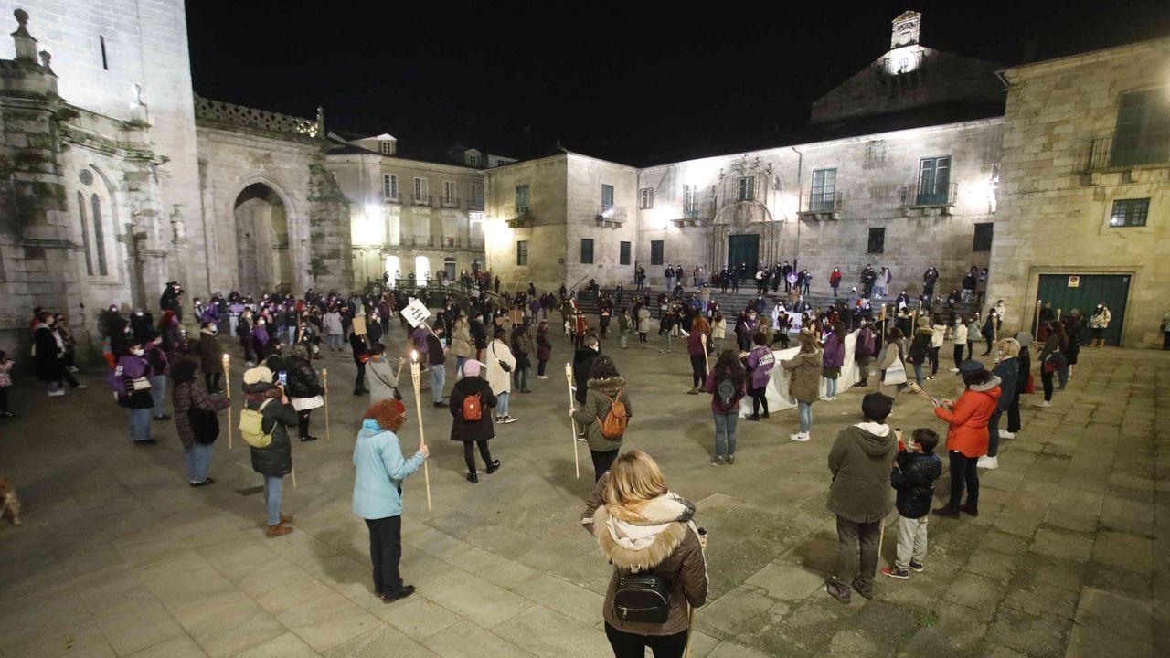 Unhas 600 persoas participaron na manifestación feminista de Lugo