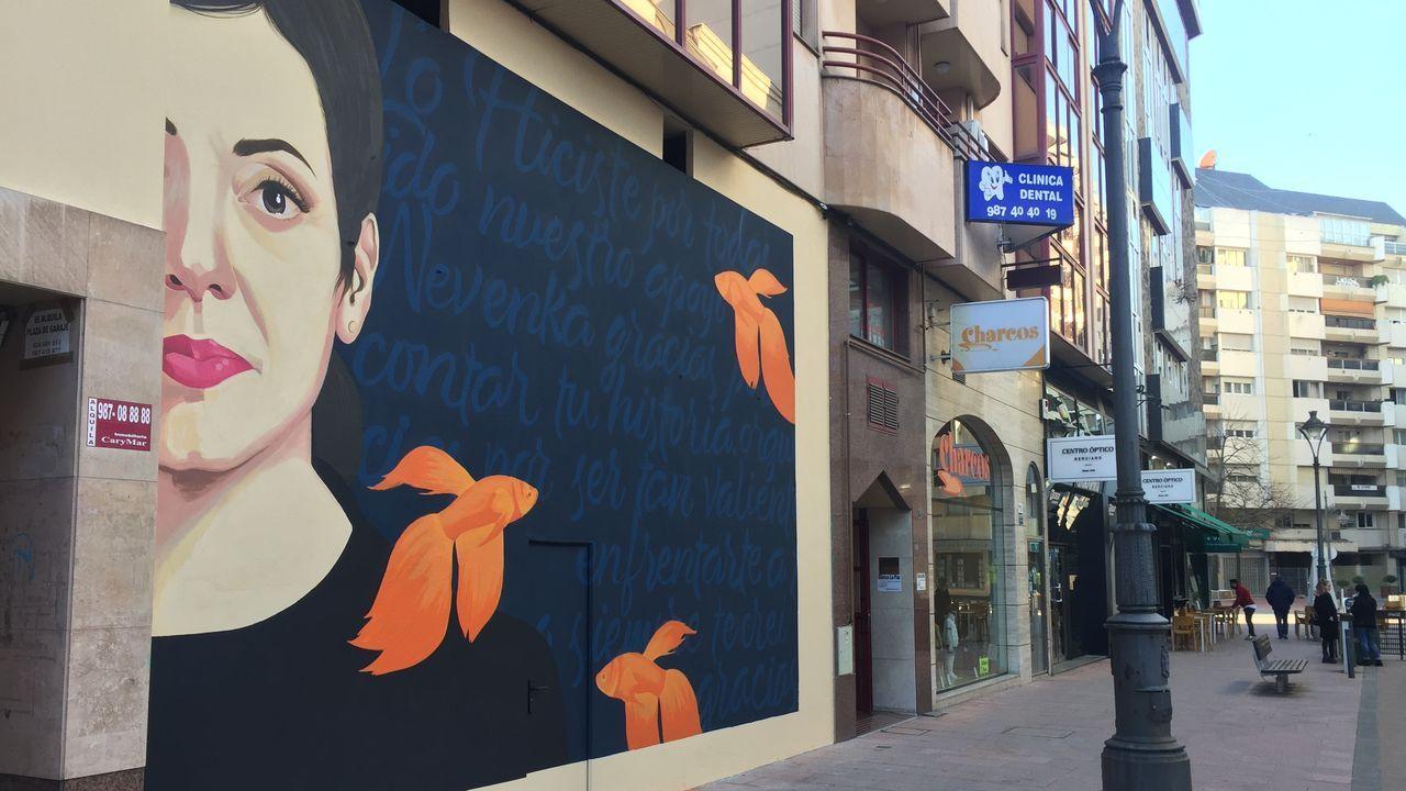 Terras de Burón, un lugar para descubrir.El mural sobre Nevenka se colocó en una calle céntrica y comercial