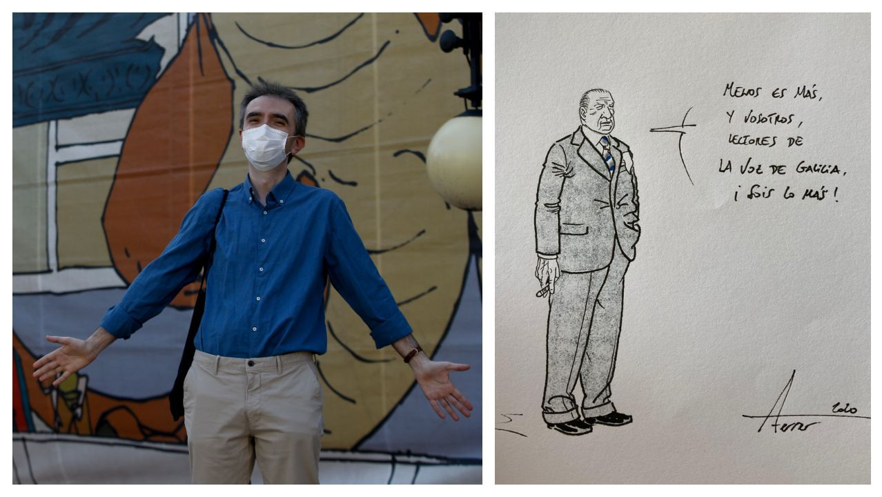 Agustín Ferrer, autor del cómic «Mies», bromea ante el edificio del Kiosko Alfonso, vestido para acoger las exposiciones del salón Viñetas. A la derecha, dibujo dedicado por el artista a los lectores de La Voz