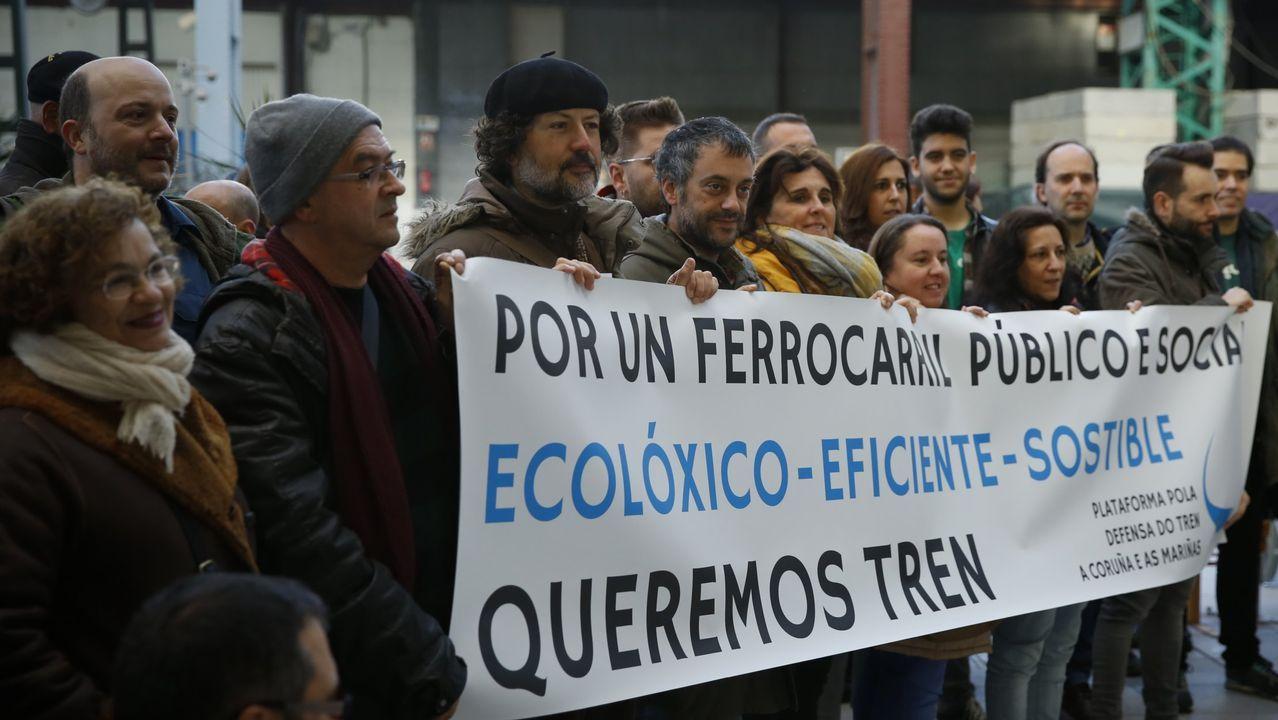 Una de las protestas para reclamar un tren de calidad entre A Coruña y Ferrol