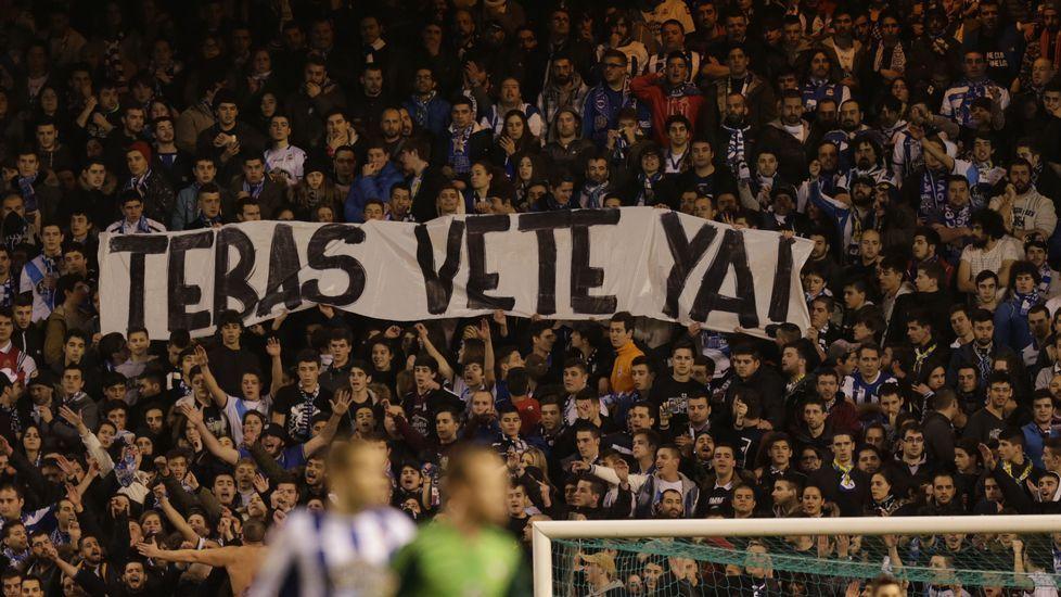 Pancarta en Riazor durante el Deportivo-Celta