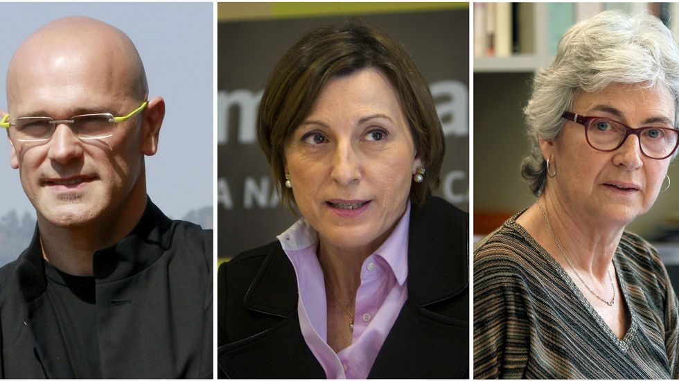 El exeurodiputado de ICV, Raül Romeva, la expresidenta de la ANC, Carme Forcadell y la presidenta de Òmnium Cultural, Muriel Casals.