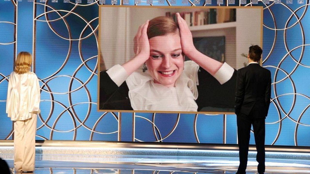 Emma Corrin celebra su Globo de Oro a la mejor actriz de televisión por «The Crown» | Captura distribuida por Reuters