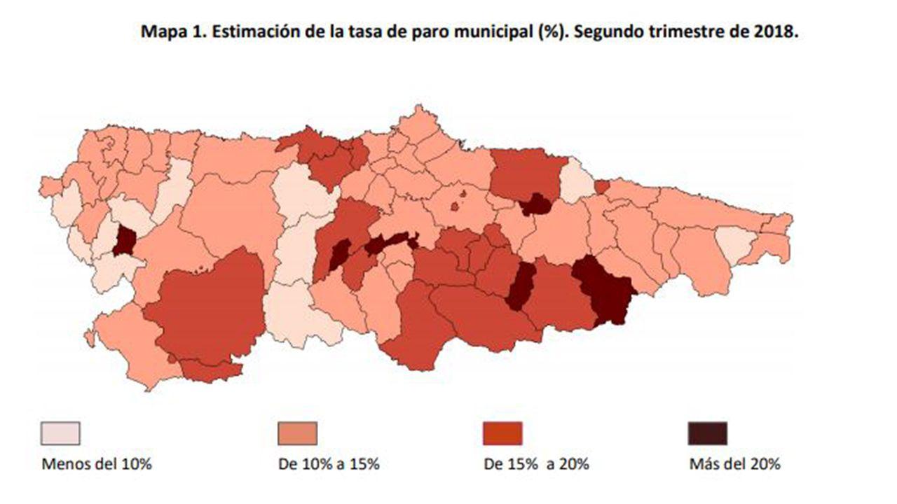 Mapa del paro por concejos