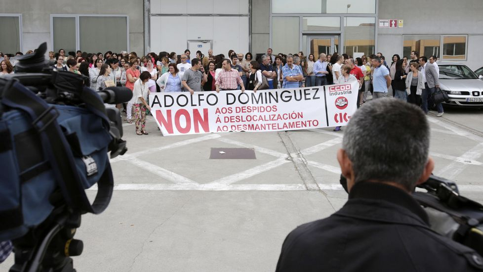 Protesta de los trabajadores de Adolfo Domínguez.Imágenes de la fábrica Textil Lonia