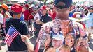 Un seguidor de Trump, durante el mitin del lunes en Sanford, en el norte de Florida