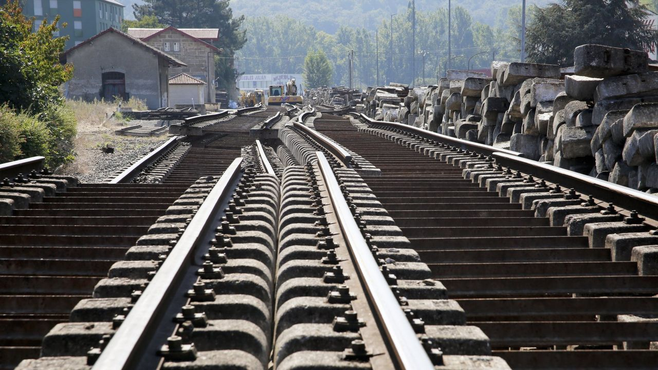 Obras de la variante ferroviaria de Láncara, en la línea Monforte-Lugo, en una imagen de archivo