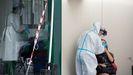 Test PCR del covid en el autocovid del Ventorrillo, en A Coruña
