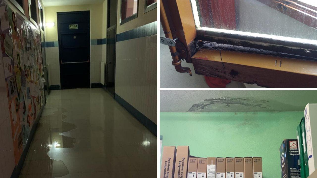 El pasillo, ayer, en parte inundado; estado de una de las ventanas de madera del colegio y, en la última imagen, humedades en un techo