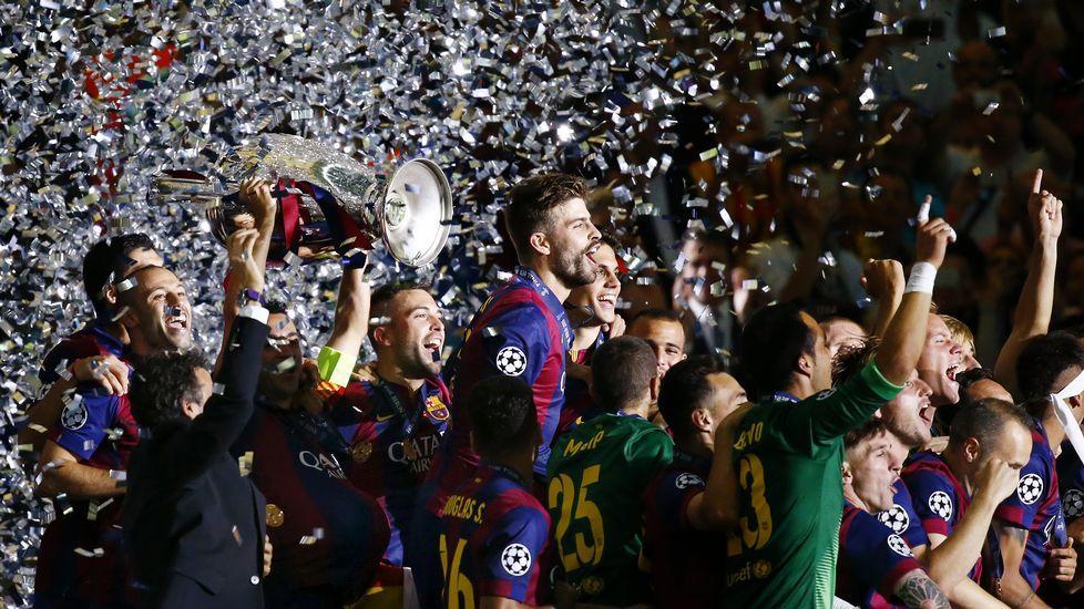 La final entre la Juventus y el Barça, en imágenes.Aduriz, entre Thiago y Cesc