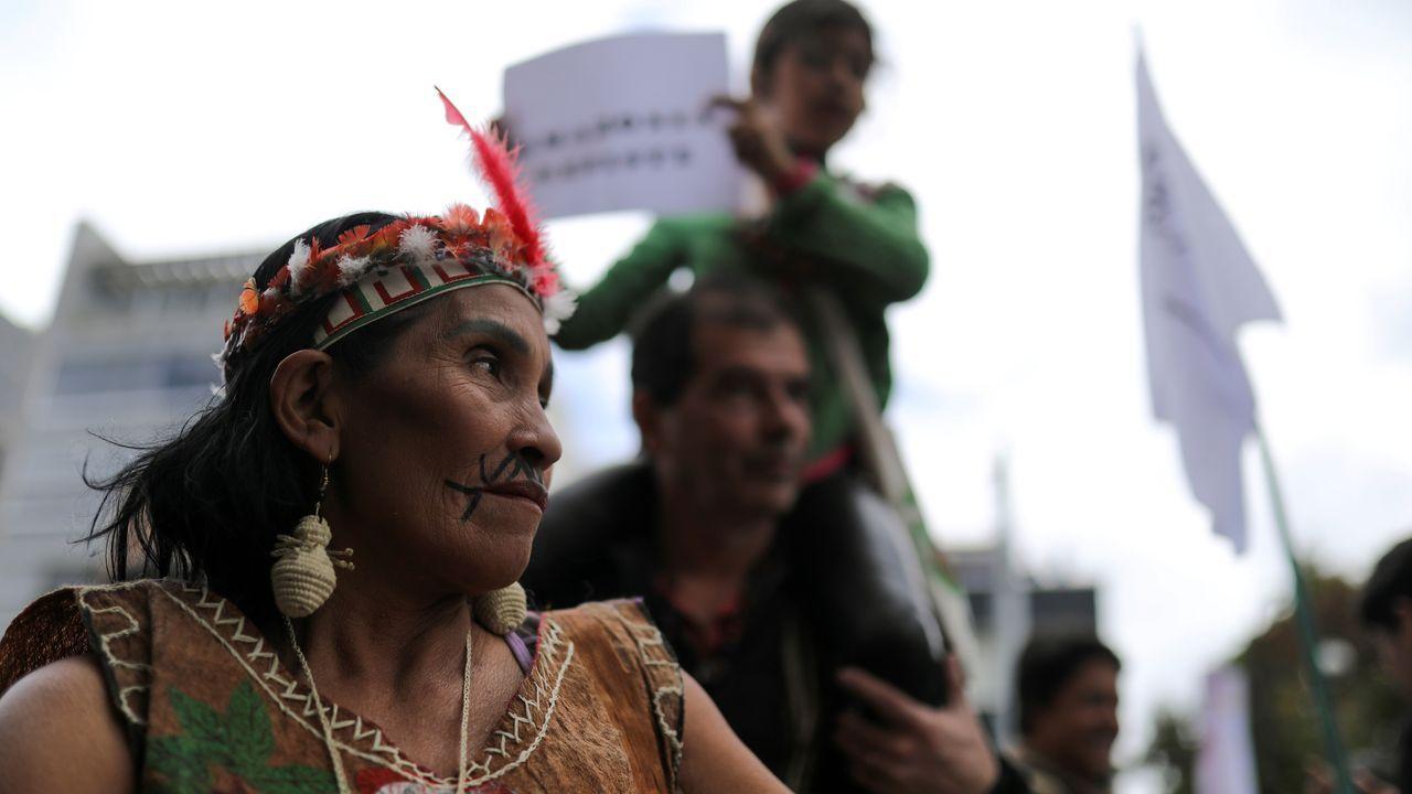 Protesta en Bogotá, frente a la embajada de Brasil, debido a los incendios en el Amazonas