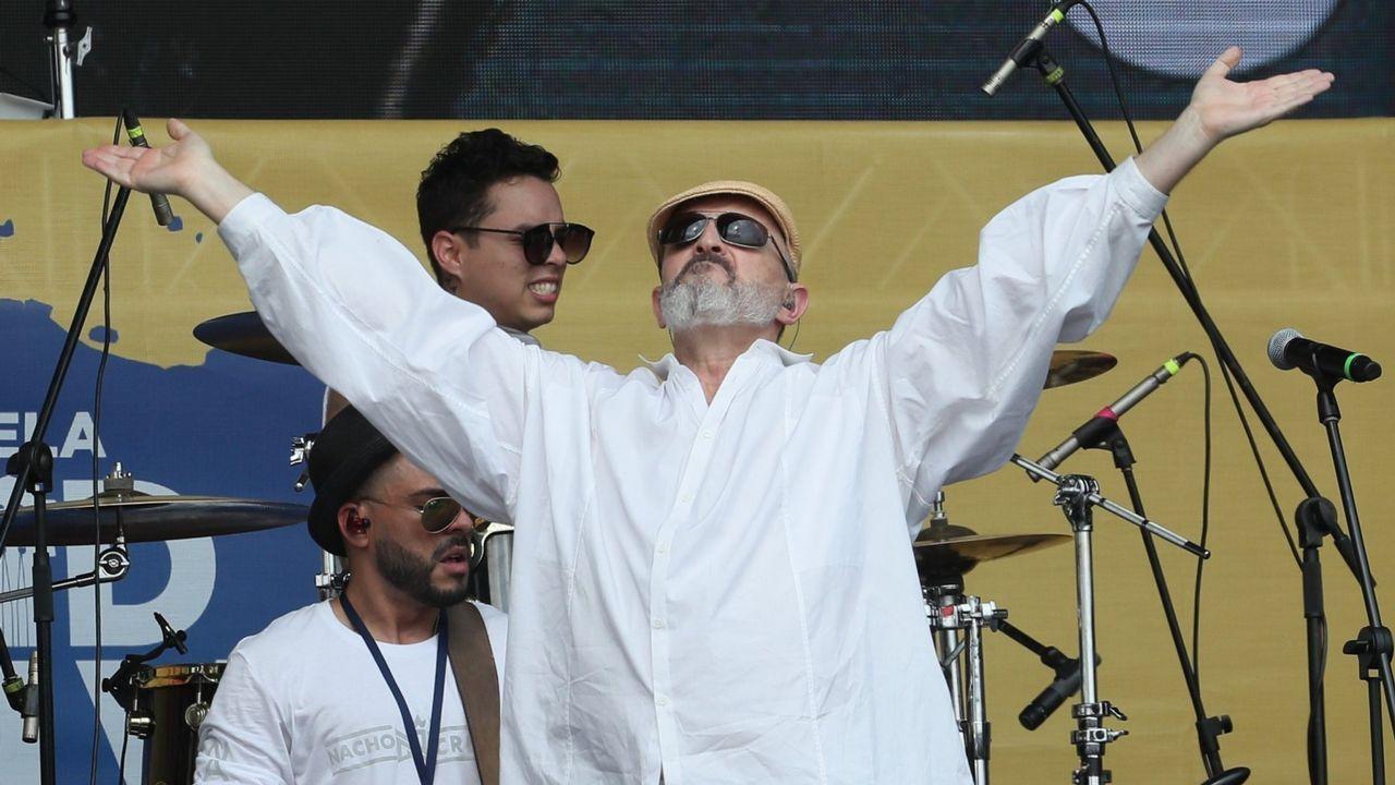 El cantante Miguel Bosé, en un reciente concierto celebrado en la localidad colombiana de Cúcuta y organizado por el empresario británico Richard Branson para recaudar dinero para Venezuela