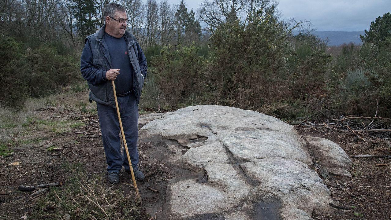 Un aspecto de la roca que contiene los grabados prehistóricos, hasta ahora sin catalogar