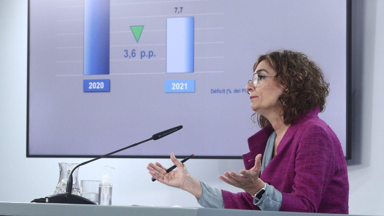 El ministro José Luis Ábalos y otros altos cargos de Transportes durante la presentación de los Presupuestos del departamento