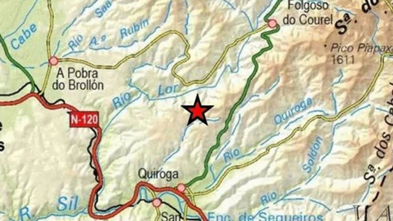 Goteras en el hospital de Monforte.Localización del epicentro de este seísmo, en un mapa publicado en la página web del Instituto Geológico Nacional (IGN)