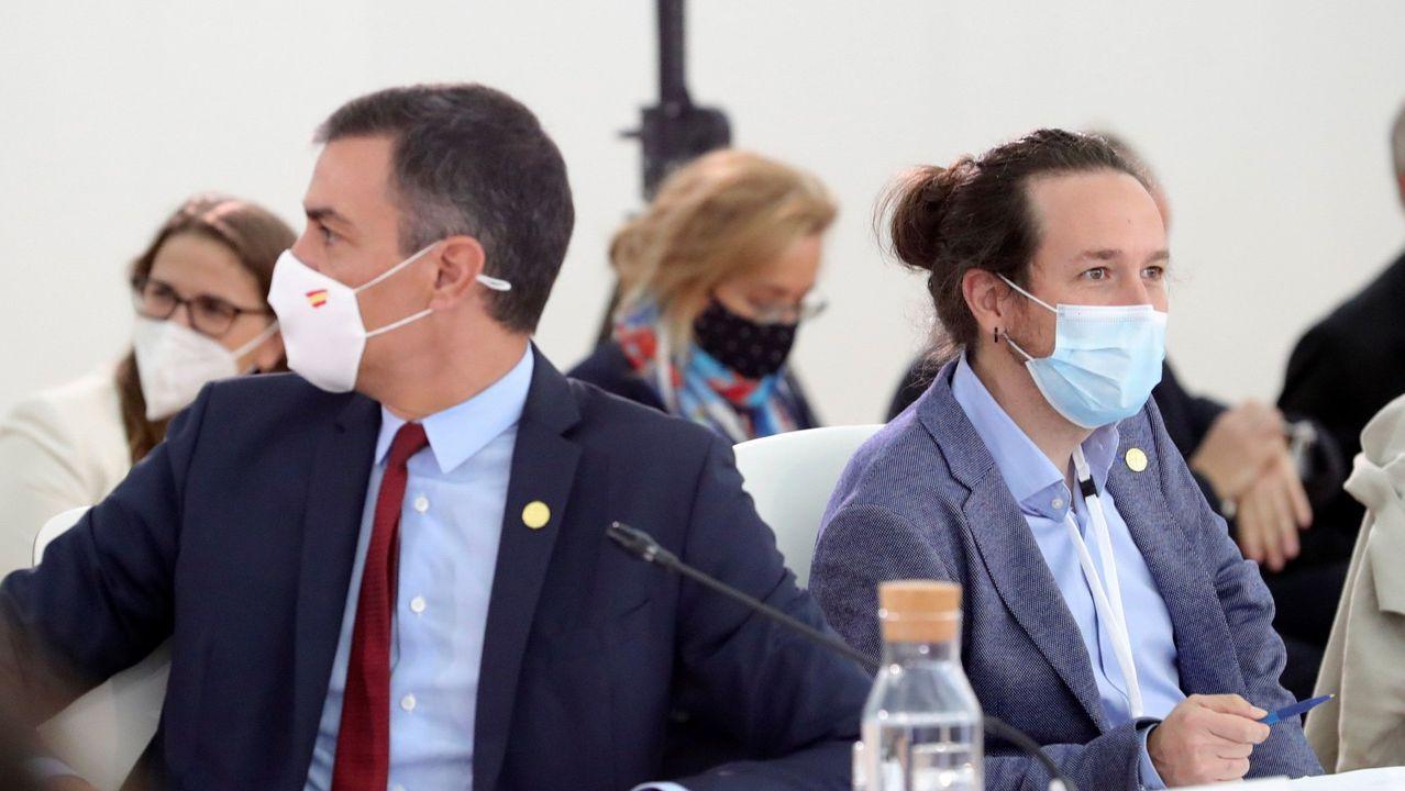 Pedro Sanchez y Pablo Iglesias, en un acto en Portugal del 10 de octubre del 2020